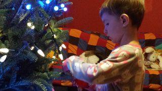 Mae and her Christmas tree