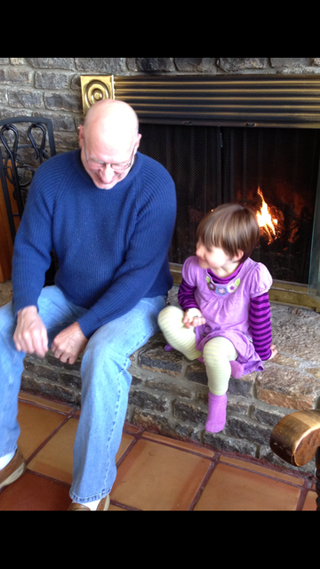 With Papa by fire