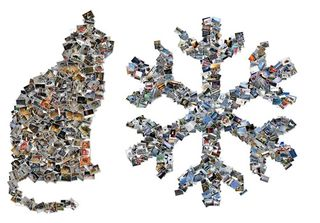 Cat and snowflake collages